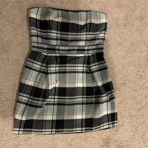 French Connection strapless plaid dress